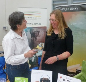 Lynne and Trudi promote the Library and the Family History Group at the Experience Orange Expo