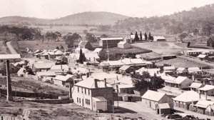 Downtown Lucknow circa 1908. The Wentworth Mine office is in the foreground, Henry Newman's house, Mamhead, and store mid-field and the school and Wesleyan and Catholic churches are on the further hill. The road to Orange is on the left. Photo courtesy Phil Orton and Orange City Council.