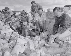 All of the bricks used in the building were second-hand and cleaned by volunteer labour. Photo coutesy Orange and District Historical Society CWD Collection.