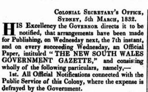 NSW Government Gazette 14 March 1832